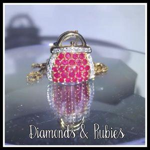 14k Ruby & Diamond PURSE Necklace